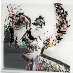 Albert Einstein portet op glas