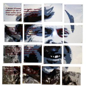 portret mozaiek op acrylaat met gedicht