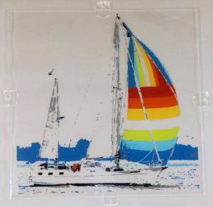 zeilschip portret op glas