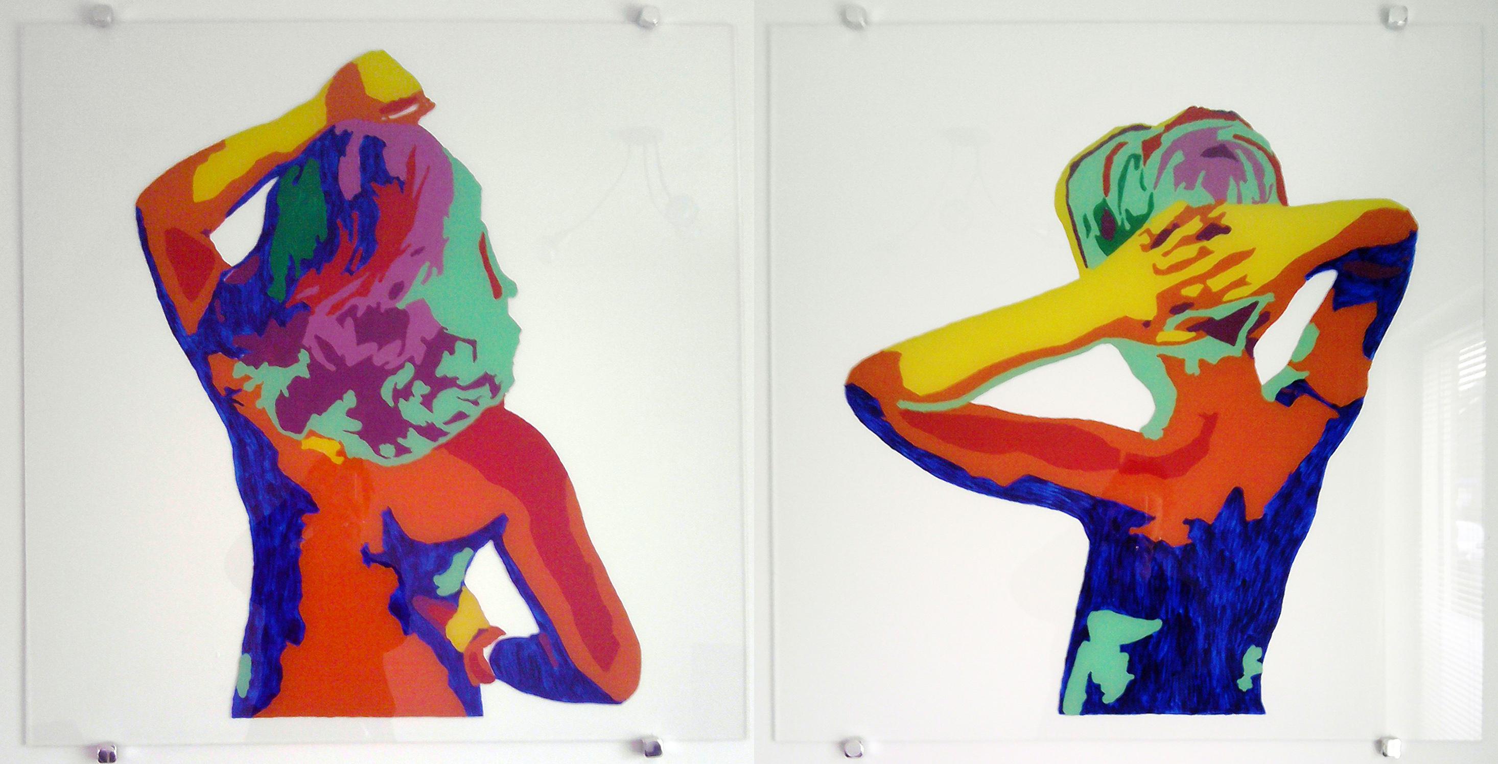 portret van kinderen op glas