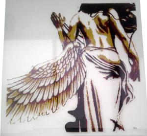 gevallen engel op glas